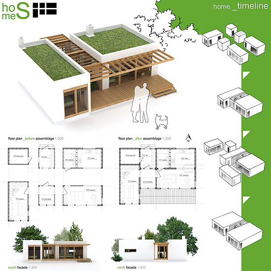 Projeto para casa ecolgica modular  um dos ganhadores da competio Sustainable Home