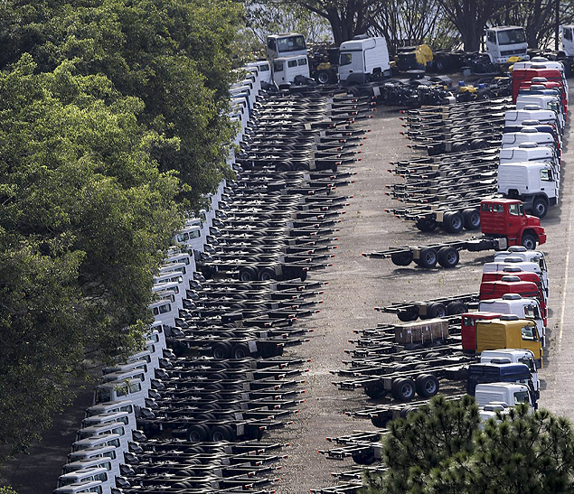 Parts of the new Mercedes-Benz trucks are seen at a parking lot close to the Mercedes-Benz factory in Sao Bernardo do Campo, Brazil