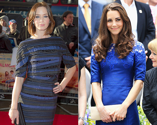 A atriz Emily Blunt e a duquesa de Cambridge, Kate Middleton