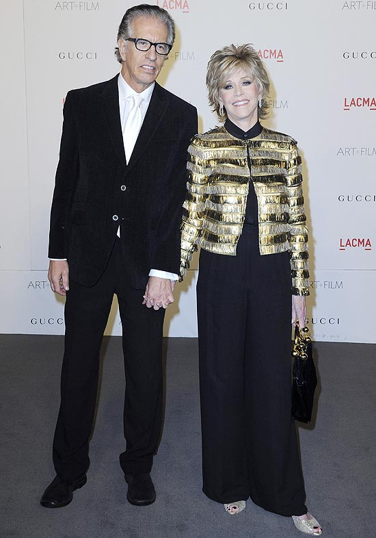 O produtor Richard Perry e atriz Jane Fonda