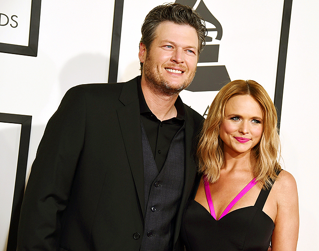 Blake Shelton e Miranda Lambert no Grammy Awards em Los Angeles