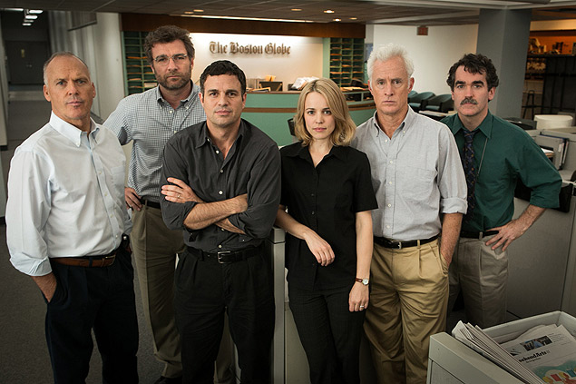 "- arteoscar2016 ==== This photo provided by Open Road Films shows, Michael Keaton, from left, as Walter ""Robby"" Robinson, Liev Schreiber as Marty Baron, Mark Ruffalo as Michael Rezendes, Rachel McAdams, as Sacha Pfeiffer, John Slattery as Ben Bradlee Jr., and Brian d'Arcy James as Matt Carroll, in a scene from the film, ""Spotlight."" The 88th annual Academy Awards nominations will be announced in 24 categories beginning at 5:30 a.m. PST on Thursday, Jan. 14, 2016, at the Academy of Motion Picture Arts and Sciences in Beverly Hills, Calif. The Oscars will be presented on Feb. 28, 2016, in Los Angeles. (Kerry Hayes/Open Road Films via AP) ORG XMIT: CAET836"