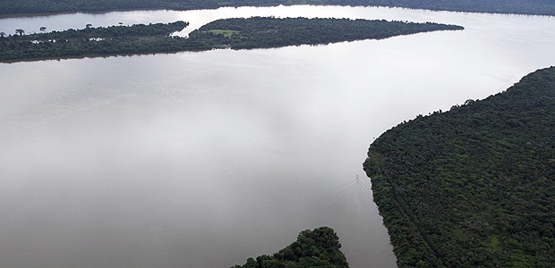 An aerial view shows the Tapajos river in the Amazonia National Park in Itaituba, state of Para