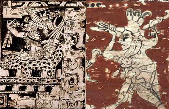 Representações gráficas do deus maia Bolon Yokte