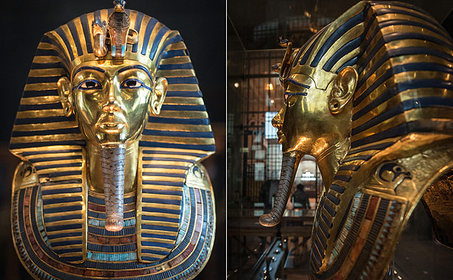 (150123) -- CAIRO, Jan. 23, 2015 (Xinhua) -- The photo taken on Jan. 23, 2015 shows the mask of Tutankhamun displayed in the Egyptian Museum, Cairo, Egypt. Egyptian Museum official Friday denied the reports on the damage and bad renovation of the gold and blue mask of King Tutankhamun, one of ancient Egypt's most famous artifacts. (Xinhua/Pan Chaoyue)