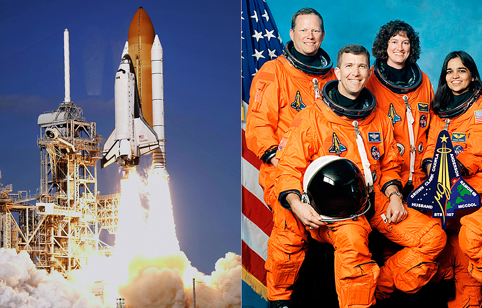 """ORG XMIT: 193401_1.tif The space shuttle Columbia, with a crew of seven, including Ilan Ramon, the first Israeli to travel on the space shuttle, lifts off from the Kennedy Space Center in Cape Canaveral, Florida, January 16, 2003. The shuttle is beginning a 16-day scientific research mission. REUTERS/David Carlson - ORG XMIT: DCA96 (FILES): This undated NASA handout image obtained 26 August, 2003 shows the crew of the US space shuttle Columbia. The accident of the US pace shuttle Columbia one decade ago, February 1, 2003, which claimed the lives of seven astronauts on board, was crucial in ending the US shuttle program in 2011. On the 10th anniversary of the disaster NASA will commemorate the astronauts killed in the ill-fated mission in a ceremony to be held February 1, 2013 at the military cemetery in Arlington, Virginia, near Washington, DC. Front from left are: astronauts Rick D. Husband, mission commander; Kalpana Chawla, mission specialist; and William C. McCool, pilot. Rear from left are: David M. Brown, Laurel B. Clark, and Michael P. Anderson, all mission specialists; and Ilan Ramon, payload specialist, representing the Israeli Space Agency. AFP PHOTO / FILES / NASA == RESTRICTED TO EDITORIAL USE / MANDATORY CREDIT: """"AFP PHOTO / NASA"""" / NO SALES / NO MARKETING / NO ADVERTISING CAMPAIGNS / DISTRIBUTED AS A SERVICE TO CLIENTS =="""
