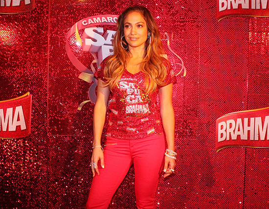 Jennifer Lopez poses in the Brahma Beer Skybox at Rio de Janeiro's famed Sambadrome during Carnaval 2012