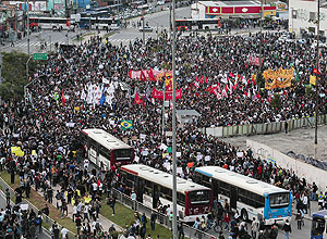 Students take part in a protest in Sao Paulo against a recent rise in public transport