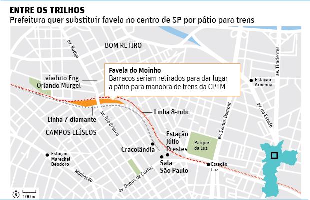 ENTRE OS TRILHOSPrefeitura quer substituir favela no centro de SP por pátio para trens