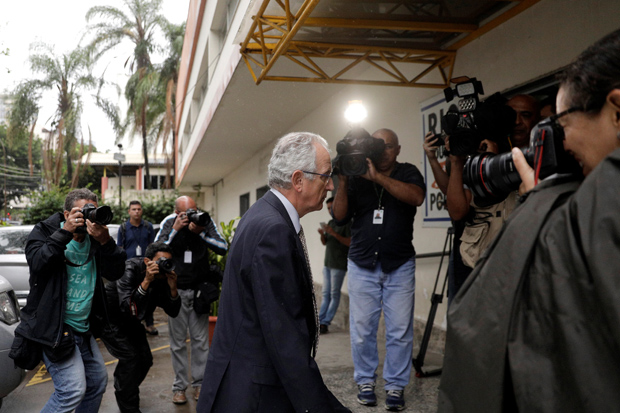 Spanish consul general in Rio de Janeiro, Manuel Salazar Palma arrives at a police station, after Spanish tourist Maria Esperanza Ruiz Jimenez, 67, died after being shot by a police officer, in the Rocinha slum, according to authorities, in Rio de Janeiro, Brazil October 23, 2017. REUTERS/Ricardo Moraes ORG XMIT: RJO105