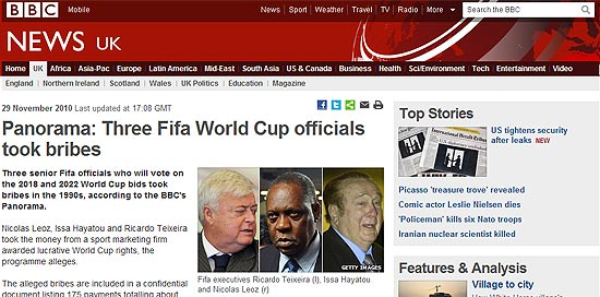 Panorama: Three Fifa World Cup officials took bribes | http://www.bbc.co.uk/news/uk-11841783