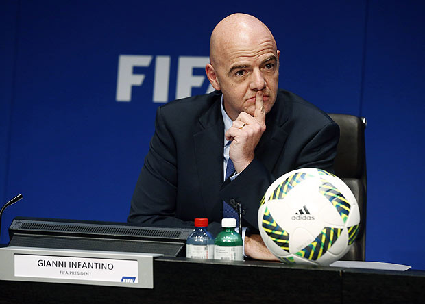FIFA President Gianni Infantino attends a news conference after the executive committee meeting at the FIFA headquarters in Zurich, Switzerland March 18, 2016. REUTERS/Ruben Sprich ORG XMIT: RSP03