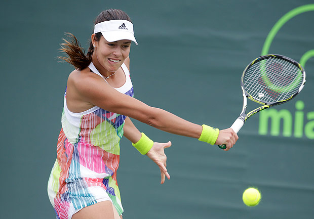 Ana Ivanovic, of Serbia, returns to Teliana Pereira during their match at the Miami Open tennis tournament, Thursday, March 24, 2016, in Key Biscayne, Fla. (AP Photo/Lynne Sladky) ORG XMIT: FLLS108