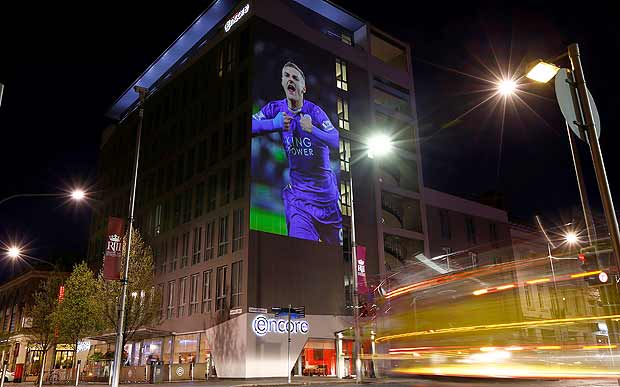 """An image of Leicester City's Jamie Vardy is projected on to a hotel during the """"Backing the Blues"""" campaign in Leicester, Britain April 29, 2016. REUTERS/Darren Staples ORG XMIT: DST05"""