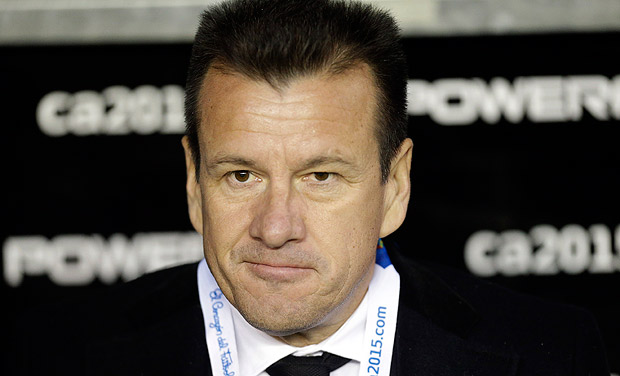 Brazil's coach Dunga looks on during a Copa America Group C soccer match against Peru at the Bicentenario German Becker stadium in Temuco, Chile, Sunday, June 14, 2015. (AP Photo/Jorge Saenz) ORG XMIT: XMC109