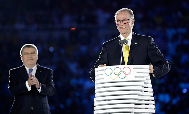 Carlos Nuzman, President of the Rio 2016 Committee, smiles as IOC President Thomas Bach, left, looks on during the opening ceremony for the 2016 Summer Olympics in Rio de Janeiro, Brazil, Friday, Aug. 5, 2016. (AP Photo/David J. Phillip) ORG XMIT: OLY700