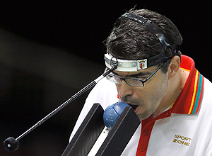 ORG XMIT: PLYKW114 Portugal's Jose Macedo plays a shot during the Mixed Pairs BC3 Boccia final against Greece at the 2012 Paralympics, Tuesday, Sept. 4, 2012, in London. (AP Photo/Kirsty Wigglesworth)
