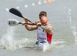 (140525) -- SZEGED, May 25, 2014 (Xinhua) -- Gold medalists Ronald Rauhe and Tom Liebscher of Germany compete during K2 men's 200m final at the 2014 ICF Canoe Sprint and Paracanoe World Cup in Szeged, Hungary, on May 25, 2014. The Germany's duo won gold with a time of 31.774 seconds. (Xinhua/Attila Volgyi)