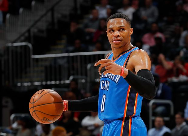 ATLANTA, GA - DECEMBER 05: Russell Westbrook #0 of the Oklahoma City Thunder calls out to his teammates against the Atlanta Hawks at Philips Arena on December 5, 2016 in Atlanta, Georgia. NOTE TO USER User expressly acknowledges and agrees that, by downloading and or using this photograph, user is consenting to the terms and conditions of the Getty Images License Agreement. Kevin C. Cox/Getty Images/AFP == FOR NEWSPAPERS, INTERNET, TELCOS & TELEVISION USE ONLY ==
