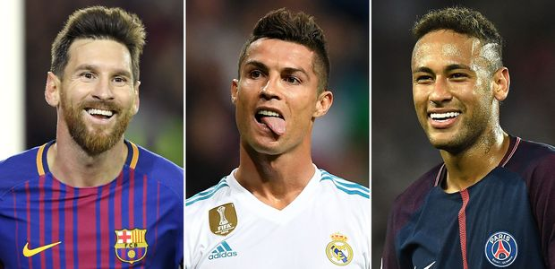 A combination of images shows (L-R) Barcelona's Argentinian forward Lionel Messi, Real Madrid's Portuguese forward Cristiano Ronaldo and Paris Saint-Germain's Brazilian striker Neymar. Neymar was named alongside Cristiano Ronaldo and Lionel Messi on the three-man shortlist for the Best FIFA Men's Player Award, which was announced in London on September 22, 2017. / AFP PHOTO / Lluis GENE