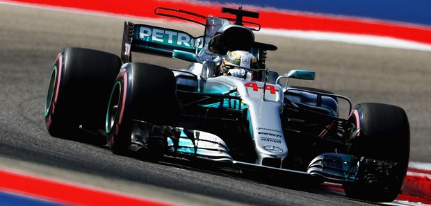 Lewis Hamilton of Great Britain driving the (44) Mercedes AMG Petronas F1 Team Mercedes F1 WO8 on track during final practice for the United States Formula One Grand Prix at Circuit of The Americas on October 21, 2017 in Austin, Texas