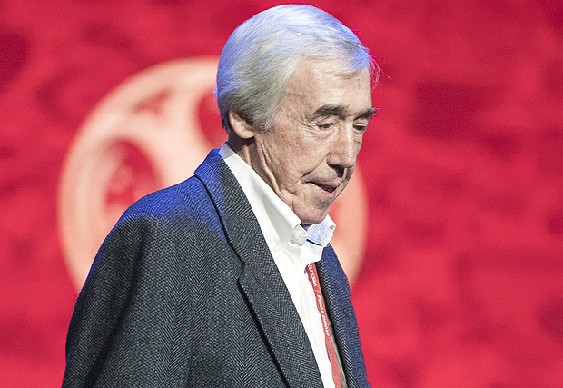 Draw assistant and former England goalkeeper Gordon Banks walks on the stage for a photo call in the State Kremlin Palace in Moscow, Russia, Thursday, Nov. 30, 2017. The Final Draw for the 2018 soccer World Cup in Russia will take place on Dec. 1 in the State Kremlin Palace in Moscow. (AP Photo/Pavel Golovkin) ORG XMIT: XPAG122