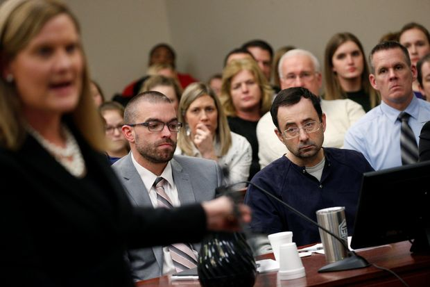 Prosecutor Angela Povilaitis speaks at the sentencing hearing for Larry Nassar,a former team USA Gymnastics doctor who pleaded guilty in November 2017 to sexual assault charges, in Lansing, Michigan, U.S., January 24, 2018. REUTERS/Brendan McDermid ORG XMIT: NYK327