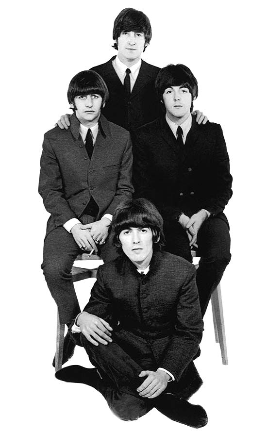 Os Beatles, banda formada por George Harrison, John Lennon, Paul McCartney e Ringo Starr
