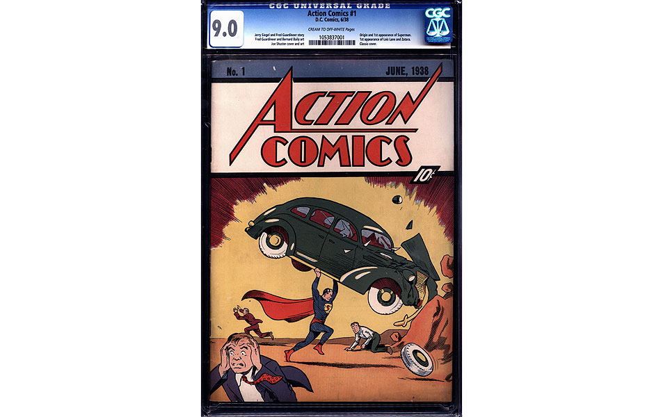 """Reprodução da primeira história do Super-Homem, de 1938. *** In this image released by Metropolis Collectibles/ComicConnect, Corp., the cover of copy of """"Action Comics No. 1"""" is shown. The issue, featuring the first appearance of Superman, sold for $2,161,000 at an online auction ending Wednesday, Nov. 30, 2011. (AP Photo/Metropolis Collectibles, Inc./ComicConnect, Corp.)"""