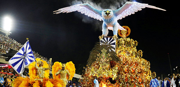 Revellers from Portela samba school perform at the Sambadrome in Rio