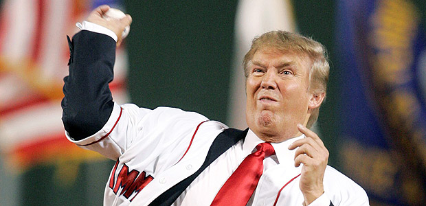 FILE PHOTO: Donald Trump throws the first pitch before the start of the second game of an American League double header between the Boston Red Sox and New York Yankees MLB baseball game at Fenway Park in Boston, Massachusetts, in this August 18, 2006 file photo. The White House announced on March 29, 2017 that U.S. President Donald Trump has declined to throw out a ceremonial first pitch at next week�s Washington Nationals� home opener on April 3. REUTERS/Jessica Rinaldi/Files ORG XMIT: WAS150