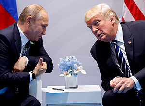 Os presidentes da Rússia, Vladimir Putin, e dos EUA, Donald Trump – Evan Vucci/Associated Press