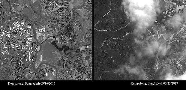 This combination of satellite photos provided by DigitalGlobe, Sept. 16, 2017, left, and May 25, 2017, right, show the thousands of temporary shelters that have been erected in the Kutupalong area of Cox's Bazar, Bangladesh. The photos show refugee camps in Bangladesh growing dramatically since Rohingya Muslims began fleeing violence last month in their nearby homeland of Myanmar. (DigitalGlobe via AP) ORG XMIT: BKWS106
