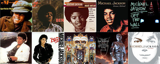 "Os dez álbuns da carreira do americano Michael Jackson: ""Got To Be There"", ""Ben"", ""Music and Me"", ""Forever, Michael"", ""Off the Wall"", ""Thriller"", ""Bad"", ""Dangerous"", ""HIStory: Past, Present and Future Book I"", ""Invincible"""