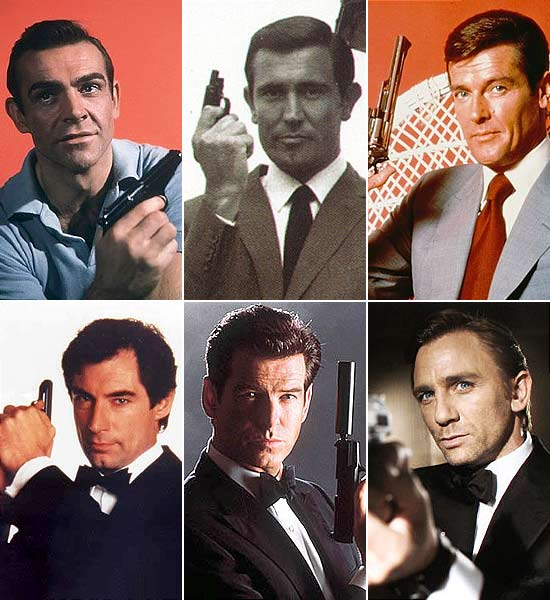 Sean Connery, George Lazenby, Roger Moore, Timothy Dalton, Pierce Brosnan, Daniel Craig viveram James Bond no cinema (à partir da esq.