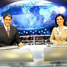 "Willian Bonner e Fátima Bernardes, âncoras do ""Jornal Nacional"", da Globo"