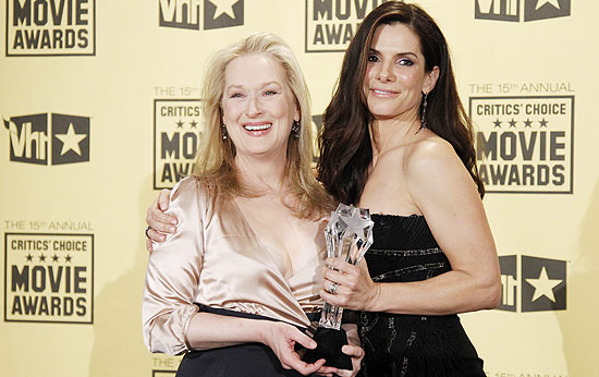 Meryl Streep e Sandra Bullock na entrega do Critics' Choice Movie Awards