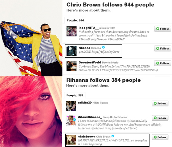 Chris Brown e Rihanna se seguem no twitter