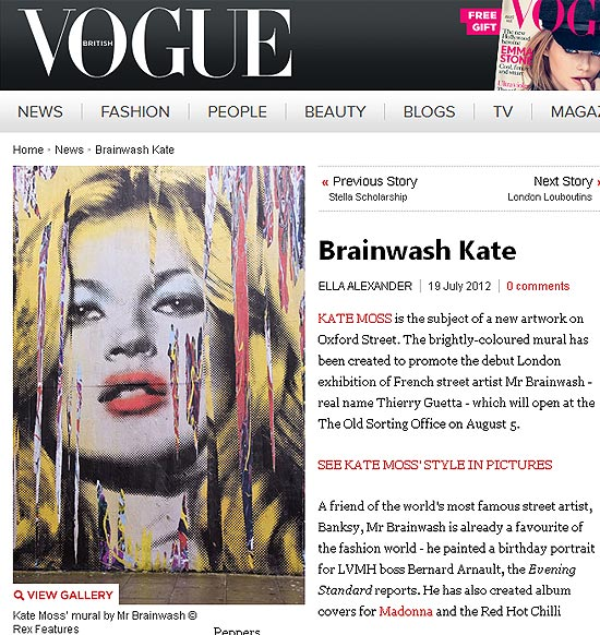 Folha de s paulo ilustrada mr brainwash retrata kate for Mural mr brainwash