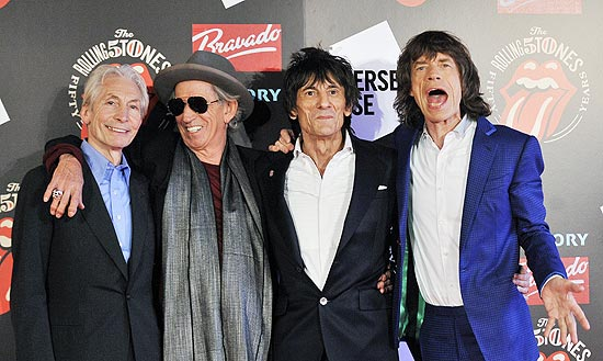 Charlie Watts, Keith Richards, Ronnie Wood e Mick Jagger, os Rolling Stones