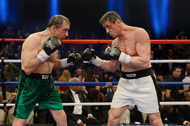 """This image released by Warner Bros. Pictures shows Robert De Niro as Billy 'The Kid' McDonnen, left, and Sylvester Stallone as Henry """"Razor"""" Sharp, in a scene from """"Grudge Match."""" One was once the Raging Bull himself. The other is, of course, Rocky. Boxing has made for a lot of great story lines on the big screen, but the latest one matching 60-something actors Robert De Niro and Sylvester Stallone may be the biggest stretch ever. (AP Photo/Warner Bros. Pictures, Ben Rothstein) ORG XMIT: NYET256"""