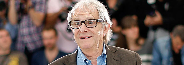 """British director Ken Loach gestures during a photocall for the film """"Jimmy's Hall"""" at the 67th edition of the Cannes Film Festival in Cannes, southern France, on May 22, 2014. AFP PHOTO / VALERY HACHE ORG XMIT: CAN6391"""