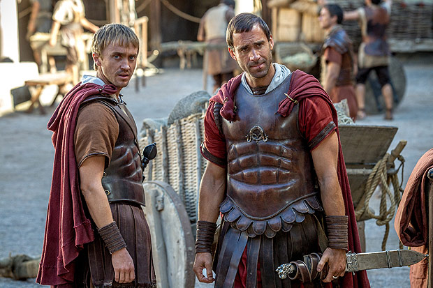 """This image provided by Columbia Pictures, shows Tom Felton, left, as Lucius and Joseph Fiennes as Clavius in Columbia Pictures' """"Risen."""" The movie opens in U.S. theaters nationwide Feb. 19, 2016. (Rosie Collins/Columbia Pictures via AP) ORG XMIT: CAET766"""