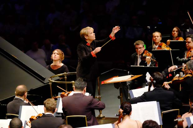BBC Proms: Prom 51: performed by the Sao Paulo Symphony Orchestra, conducted by Marin Alsop with Gabriela Montero on piano, (Marlos Nobre: Kabbalah-UK Premiere, Grieg: Piano Concerto in A Minor, Villa-Lobos: Bachianas brasileiras No. 4-Prelude, Rachmaninov: Symphonic Dances) at the RAH on Wednesday 24 Aug. 2016. Photo by Mark Allan