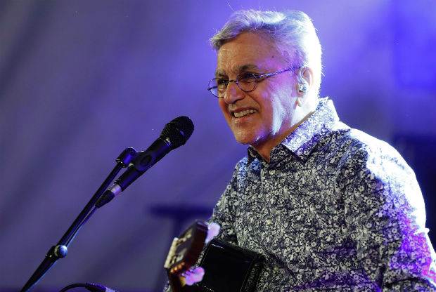 Brazilian singer Caetano Veloso performs on stage during the Brazilian Cultural Festtival