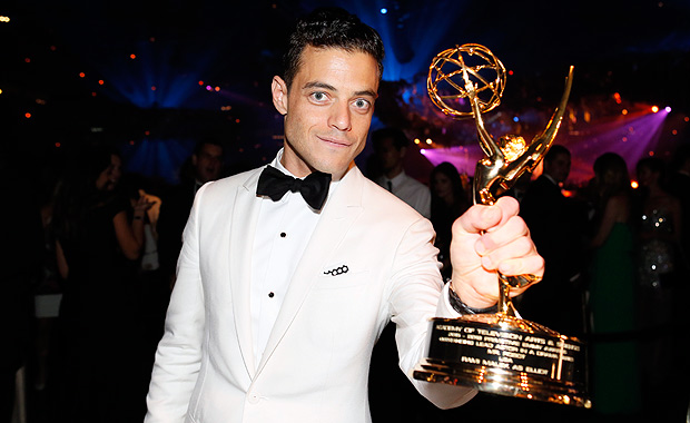"IMAGE DISTRIBUTED FOR THE TELEVISION ACADEMY - EXCLUSIVE - Rami Malek, winner of the award for outstanding lead actor in a drama series for ""Mr. Robot"", attends the Governors Ball for the 68th Primetime Emmy Awards at the Los Angeles Convention Center on Sunday, Sept. 18, 2016, in Los Angeles. (Danny Moloshok/Invision for the Television Academy/AP Images) ORG XMIT: INVL"