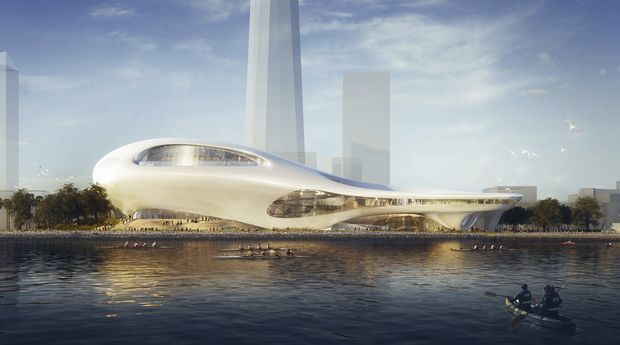 This concept design provided by the Lucas Museum of Narrative Art shows a rendering of their proposed museum on Treasure Island in San Francisco. In January George Lucas, the legendary filmmaker, is expected to decide whether he will put a museum for his extensive personal art collection in San Francisco or Los Angeles, after other attempts were upended by community opposition. (Lucas Museum of Narrative Art via AP) ORG XMIT: FX502