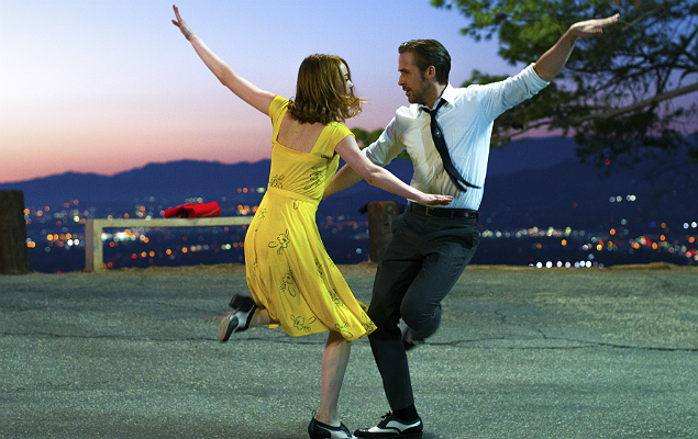 "This image released by Lionsgate shows Ryan Gosling, right, and Emma Stone in a scene from, ""La La Land."" The Writers Guild of America announced its nominees for the best screenplays of the year on Wednesday. Best original screenplay nominees include; ""Manchester By The Sea,"" ""Moonlight"", ""La La Land,"" ""Hell or High Water"" and ""Loving."" (Dale Robinette/Lionsgate via AP) ORG XMIT: NYET311"