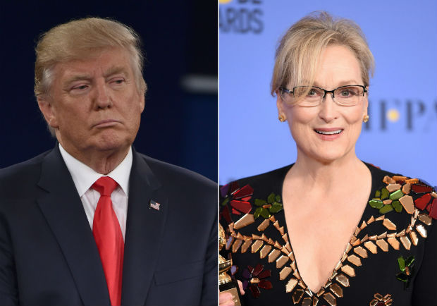 """(COMBO) This combination of pictures created on January 10, 2017 shows recent images of US President elect Donald Trump (L) and US actress Meryl Streep. Donald Trump took on one of the Hollywood greats on January 9, 2017, accusing Meryl Streep of being an overrated actress and a Hillary Clinton """"flunky"""" after the multiple Oscar winner tore into him at an awards ceremony in what is becoming branded by US Media as new Culture War. / AFP PHOTO / Paul J. Richards AND Robyn Beck"""