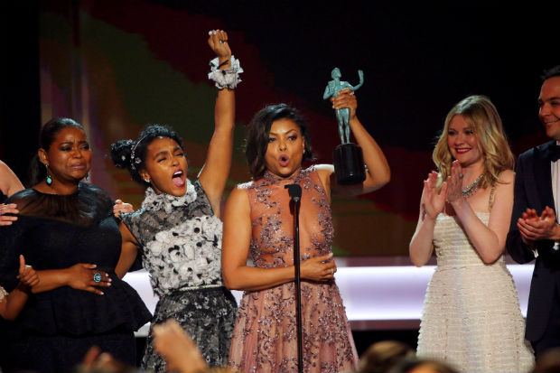 "Octavia Spencer (L), Janelle Monae (2nd L) and Taraji P. Henson accept their award for Cast in a Motion Picture for ""Hidden Figures"" during the 23rd Screen Actors Guild Awards in Los Angeles, California, U.S., January 29, 2017. REUTERS/Mike Blake TPX IMAGES OF THE DAY ORG XMIT: LOA245"